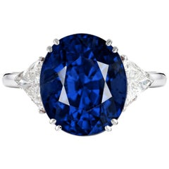 GRS Switzerland 6.33 Carat Vivid Royal Blue Oval Blue Sapphire Diamond Ring