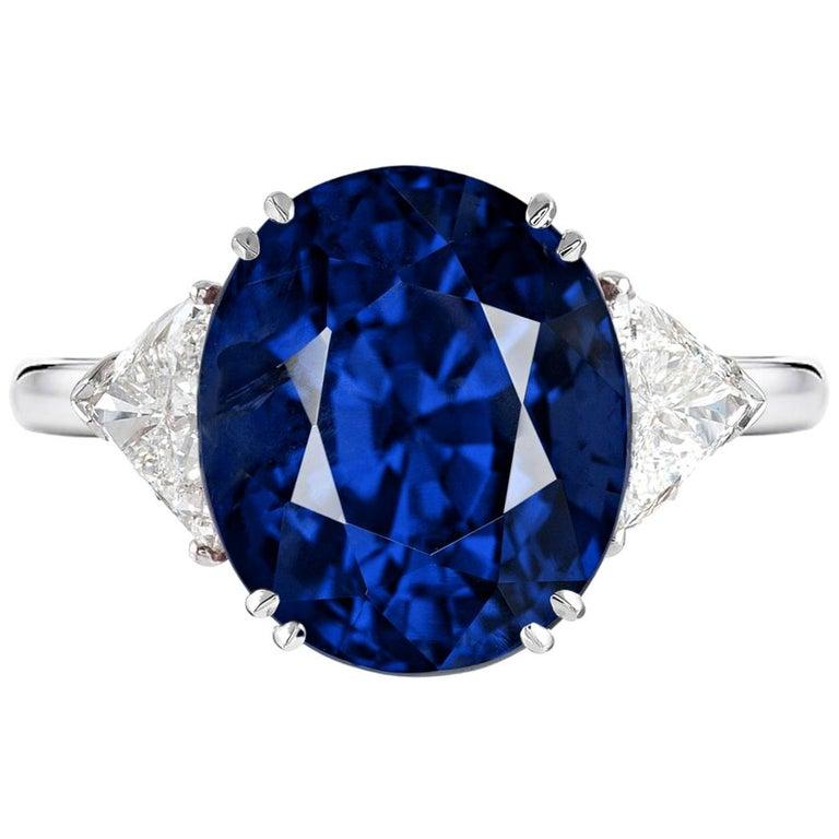GRS Switzerland 6.33 Carat Vivid Royal Blue Oval Blue Sapphire Diamond Ring For Sale