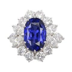 GRS Switzerland 6.50 Carat Sri-Lanka Ceylon Oval Blue Sapphire Diamond Ring