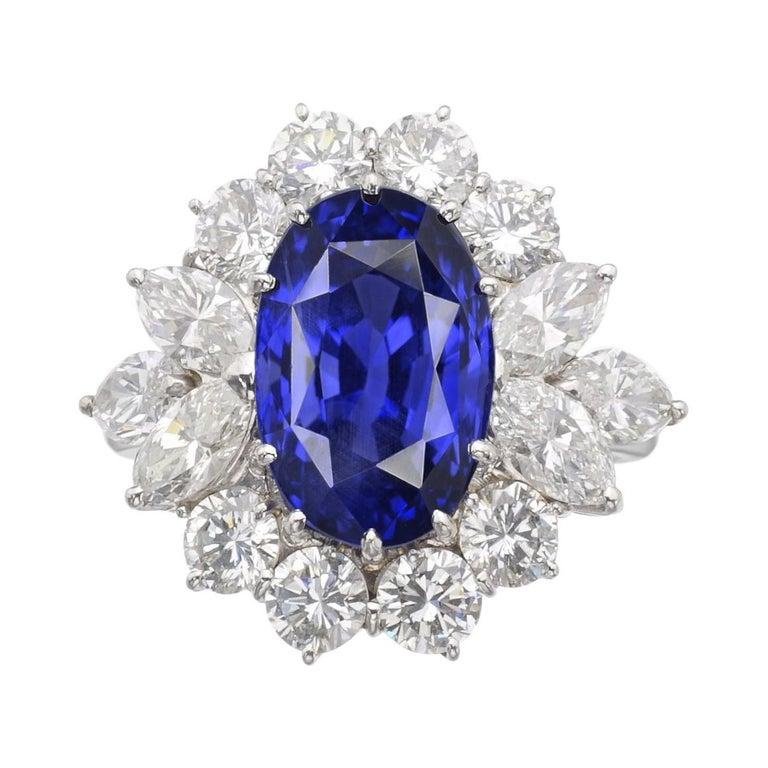GRS Switzerland 5 Carat Sri-Lanka Ceylon Oval Blue Sapphire Diamond Ring For Sale