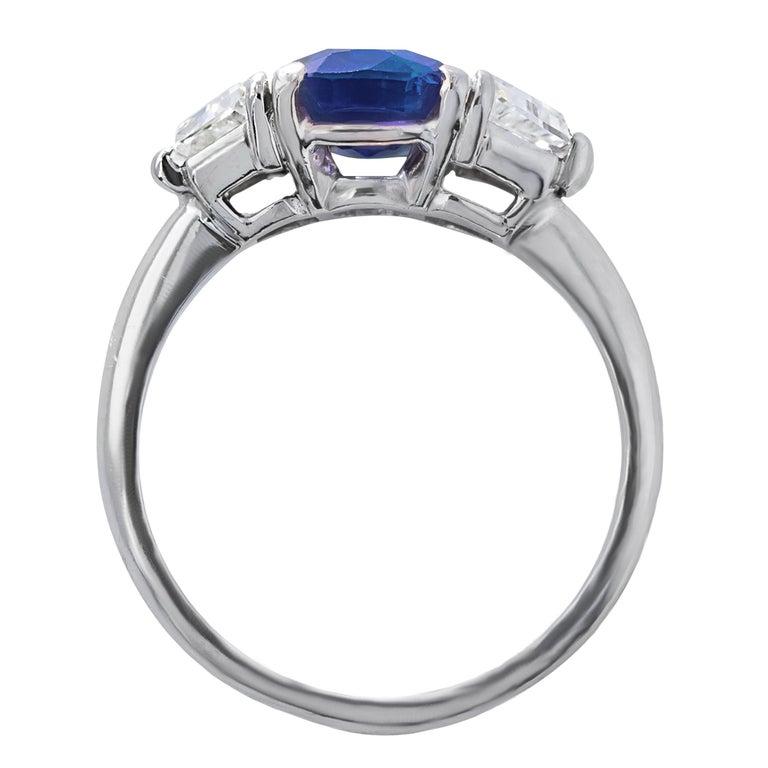 Modern GRS Switzerland 5 Carat Unheated Ceylon Oval Royal Vivid Blue Sapphire Ring For Sale