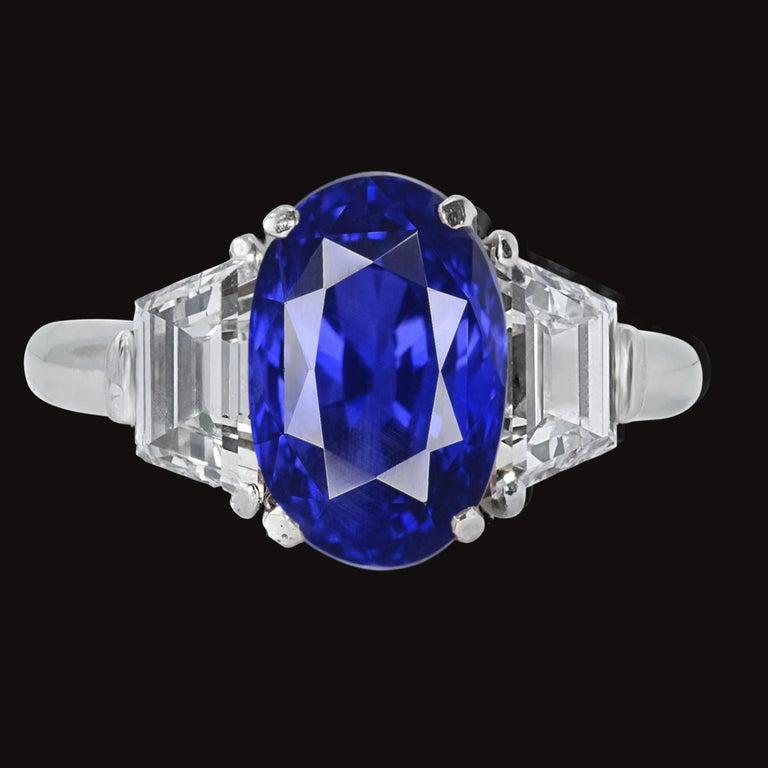 Oval Cut GRS Switzerland 5 Carat Unheated Ceylon Oval Royal Vivid Blue Sapphire Ring For Sale