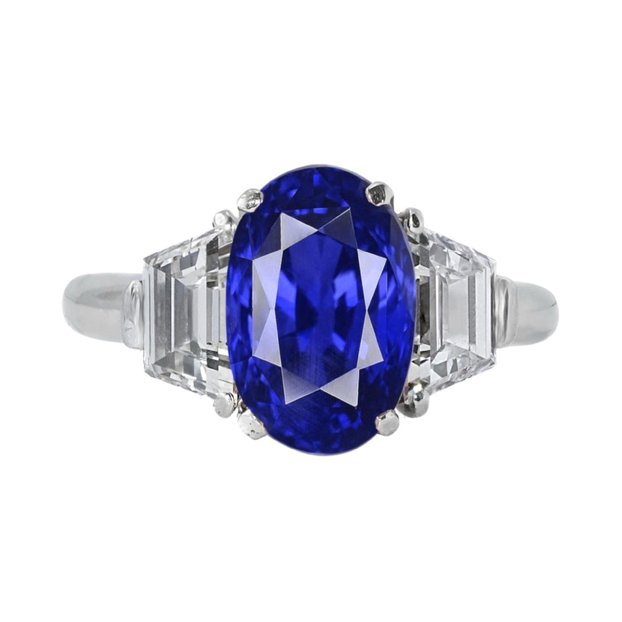 GRS Switzerland 7.12 Carat Unheated Ceylon Oval Royal Vivid Blue Sapphire Ring