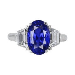 GRS Switzerland 7.12 Carat Unheated Ceylon Oval Royal Vivid Blue Sapphire Ring