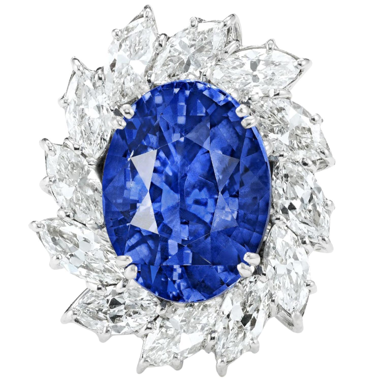GRS Switzerland Certified 10.78 Carat Sri-Lanka Blue Sapphire Platinum Ring