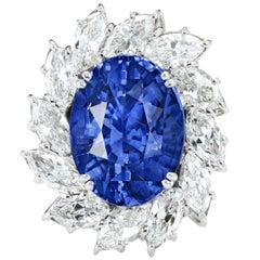 GRS Switzerland Certified 12.28 Carat Sri-Lanka Blue Sapphire Platinum Ring