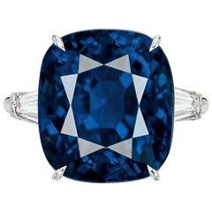 GRS Switzerland Certified 11.80 Carat Sri-Lanka Cushion Cut Blue Sapphire Ring