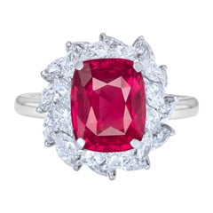 GRS Switzerland Certified 4 Carat Fiery Red Cushion Cut No Heat Ruby Ring