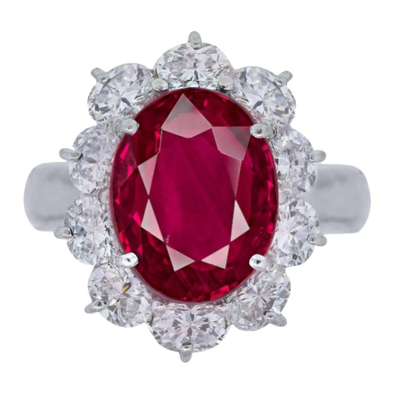 GRS Switzerland Certified 6 Carat Vivid Red Peagon's Blood Red Ruby Diamond Ring