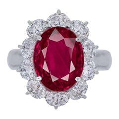 GRS Switzerland Certified 6 Carat Vivid Red Peagon's Blood Red Ruby Diamond Ring