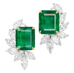 GRS Switzerland Certified 7 Carat Vivid Green Emerald Marquise Diamond Earrings