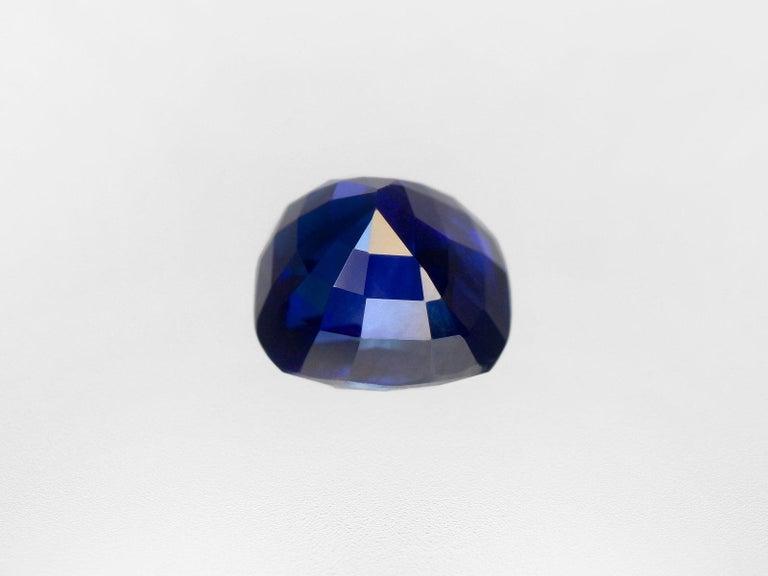 Cushion Cut FLAWLESS GRS Switzerland Deep Royal Blue 3 Carat Cushion Sapphire Ring For Sale