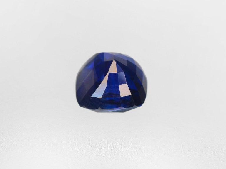 Cushion Cut GRS Switzerland Deep Royal Blue Flawless 3.50 Carat Cushion Sapphire Ring