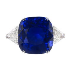 GRS Switzerland Deep Royal Blue Flawless 3.50 Carat Cushion Sapphire Ring