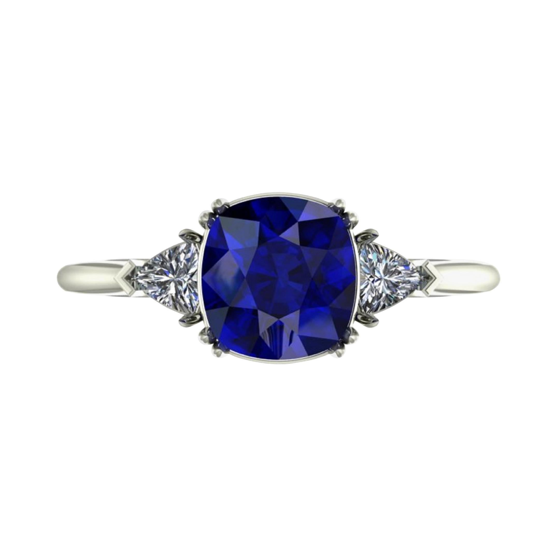 GRS Switzerland Deep Royal Blue Flawless 3 Carat Cushion Sapphire Ring