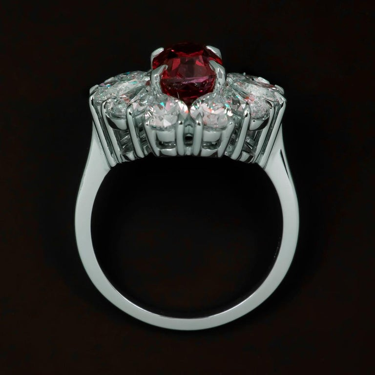 Modern GRS Switzerland GIA Certified 3.40 Carat Vivid Red Peagon's Ruby Diamond Ring For Sale