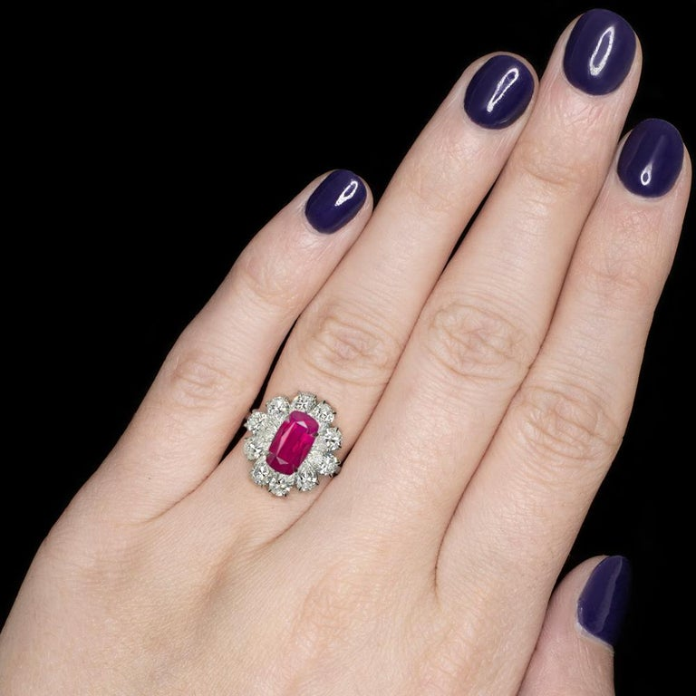 Cushion Cut GRS Switzerland GIA Certified 3.40 Carat Vivid Red Peagon's Ruby Diamond Ring For Sale
