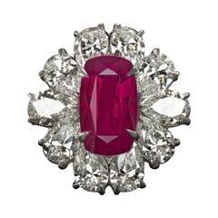 GRS Switzerland GIA Certified 3.40 Carat Vivid Red Peagon's Ruby Diamond Ring
