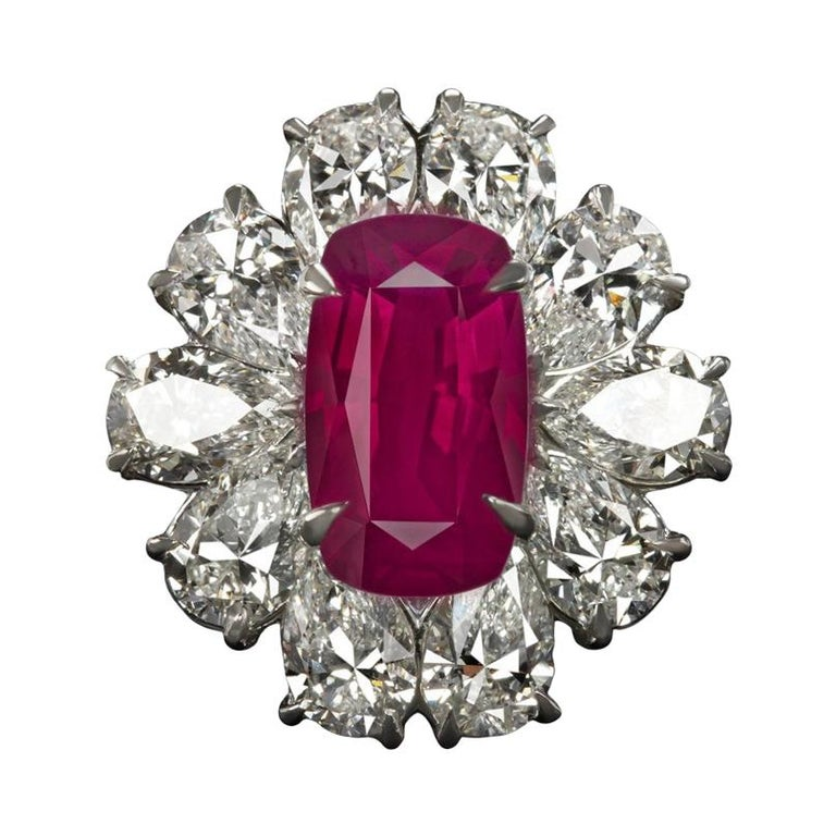 GRS Switzerland GIA Certified 3.40 Carat Vivid Red Peagon's Ruby Diamond Ring For Sale
