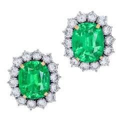 GRS Switzerland Natural Emerald Diamond Stud Earrings No Oil Insignificant