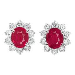 GRS Switzerland Natural Unheated Red Rubies Diamond Halo Earrings Pair