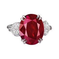 GRS Switzerland No Heat 2.5 Carat Oval Cut Vivid Red Ruby Diamond Cocktail Ring