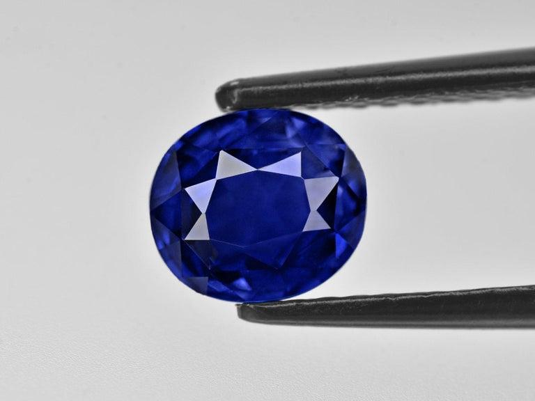 Modern GRS Switzerland Royal Vivid Blue 3.80 Carat Oval Sapphire Diamond Cocktail Ring For Sale