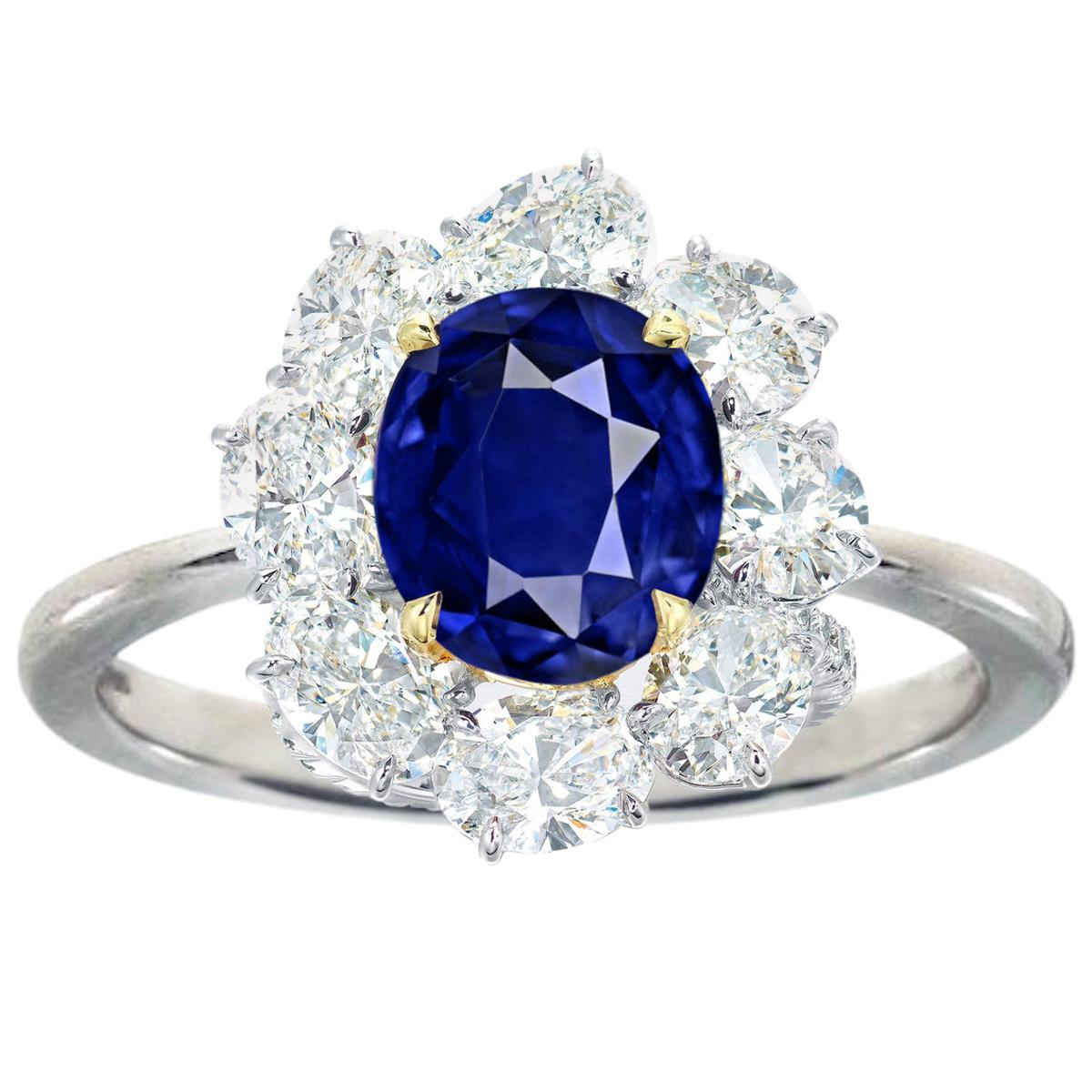 GRS Switzerland Royal Vivid Blue 3.80 Carat Oval Sapphire Diamond Cocktail Ring