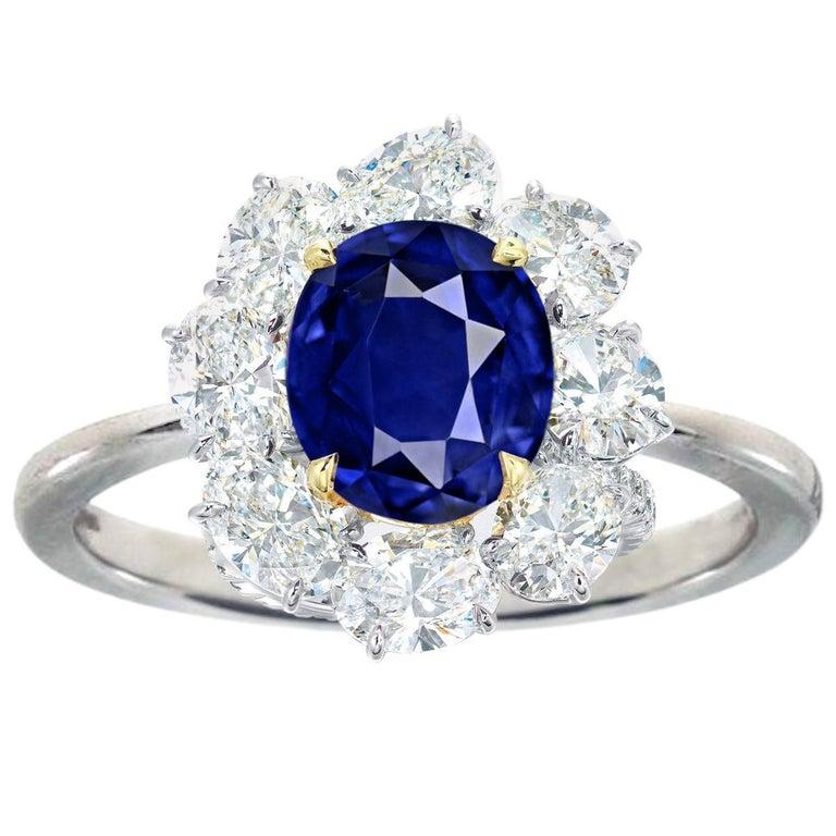 GRS Switzerland Royal Vivid Blue 3.80 Carat Oval Sapphire Diamond Cocktail Ring For Sale