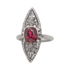 GRS 'Vivid Red' 3.04 Carat Burmese No Heat Spinel and Diamond Ring in 18k Gold