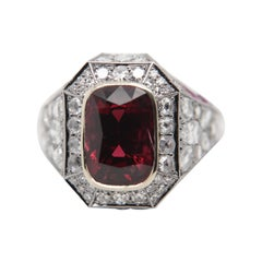 GRS 'Vivid Red' 5.28 Carat Burmese No Heat Spinal and Diamond Ring in 18k Gold