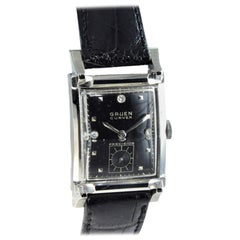 Gruen 14 Karat White Gold Art Deco Curvex Tank Style Watch, circa 1940s
