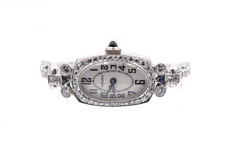 Rough Cut Gruen 14 Karat White Gold Ladies Vintage Diamond Watch For Sale