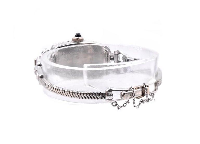 Gruen 14 Karat White Gold Ladies Vintage Diamond Watch In Excellent Condition For Sale In Scottsdale, AZ