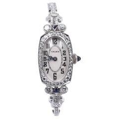 Gruen 14 Karat White Gold Ladies Vintage Diamond Watch
