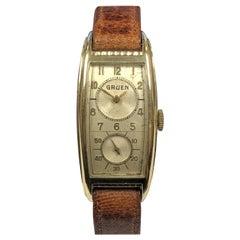 Gruen 1940s Tonneau Case Duo Dial Doctors Mechanical Wristwatch