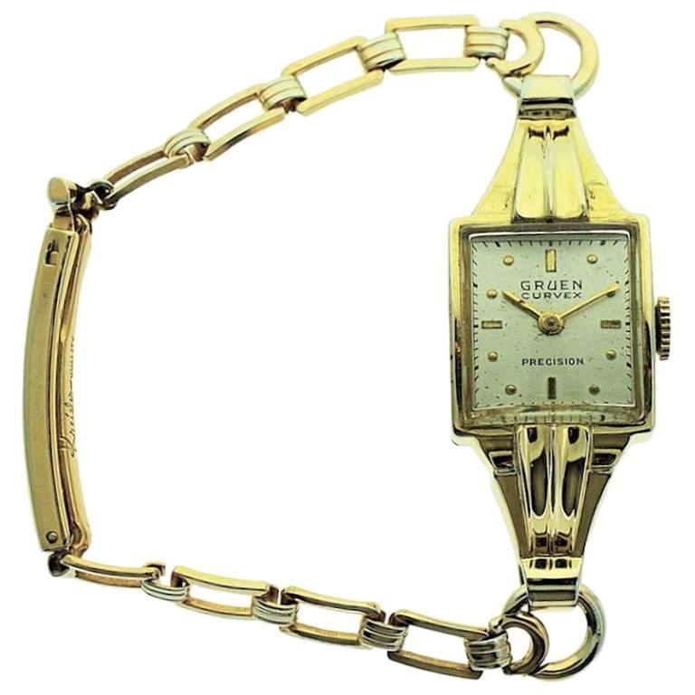 Gruen Gold Filled Rare Art Deco Ladies Curvex Watch with Original Bracelet