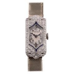 Gruen Platinum Diamond and Sapphire Wrist Watch