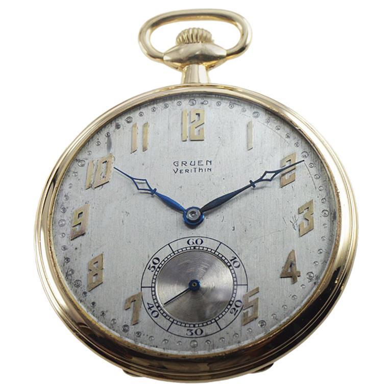 Gruen VeriThin 14 Karat Yellow Gold Art Deco Pocket Watch, circa 1920s