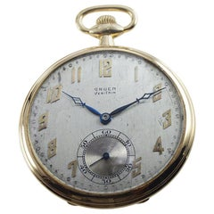 Gruen VeriThin 14 Karat Yellow Gold Art Deco Pocket Watch, circa 1920s