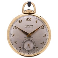 Gruen Yellow Gold-Filled 12-S Open Face Pocketwatch, circa 1940s