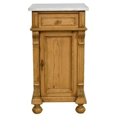 Antique Gründerzeit Nightstand/ Pot Cupboard in Pine w/ White Carrara Marble