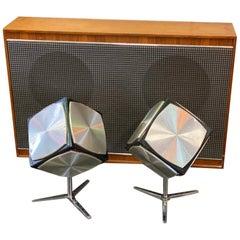 Grundig Cube Speaker Set with Amplifier, 1970s