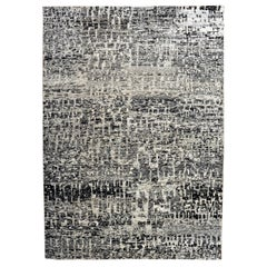 Grunge Black and Silver Area Rug