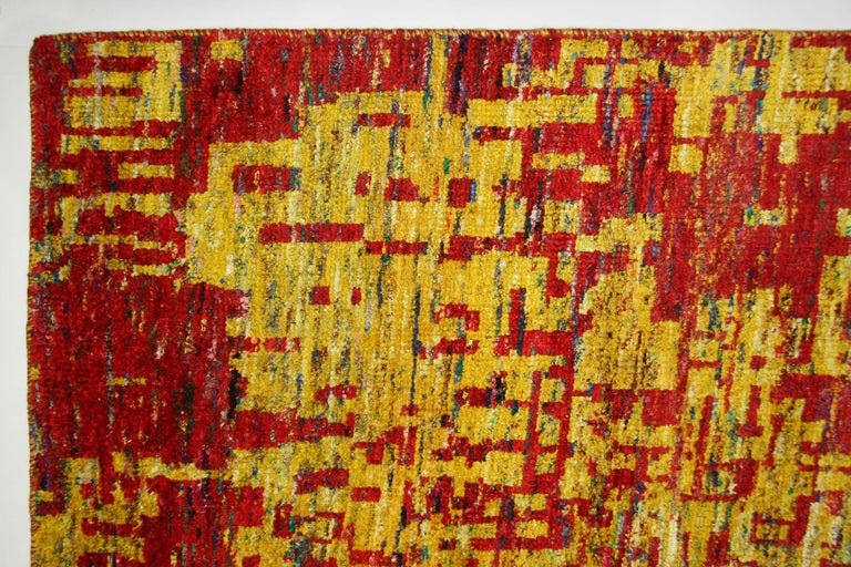Hand-Knotted Grunge Red Rug, Multiple Sizes  For Sale