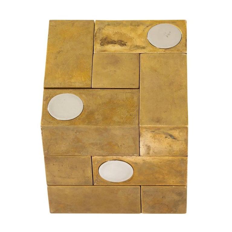 Grupo Mijar Sculpture Brass Steel Magic Puzzle Cube Signed Spain 1970's 4
