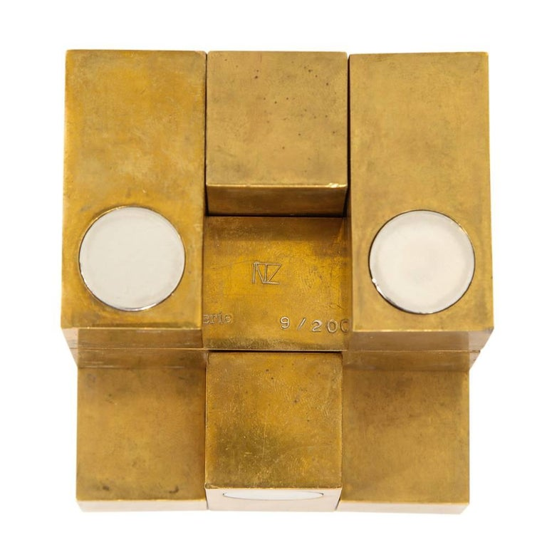 Grupo Mijar Sculpture Brass Steel Magic Puzzle Cube Signed Spain 1970's. Ingenious limited edition sculpture in brass and steel. Numbered 9/200 and signed Grupo Mijar. Grupo Mijar was a collaboration between Guillermo Ventura y Antonio Lauzán. Good