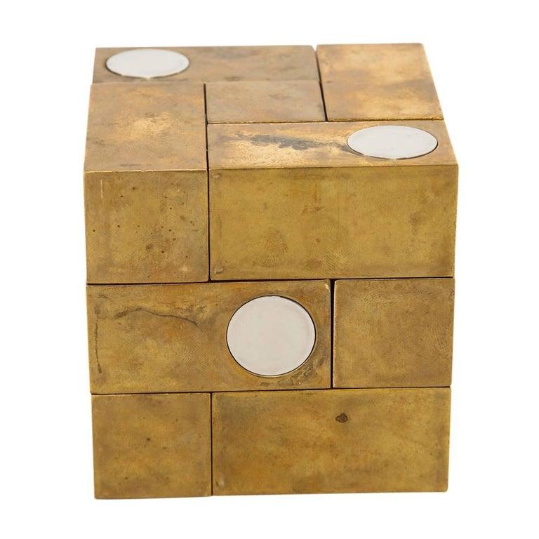 Mid-Century Modern Grupo Mijar Sculpture Brass Steel Magic Puzzle Cube Signed Spain 1970's