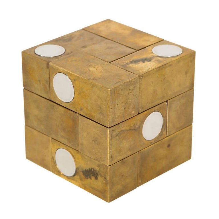 Spanish Grupo Mijar Sculpture Brass Steel Magic Puzzle Cube Signed Spain 1970's