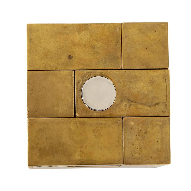 Grupo Mijar Sculpture Brass Steel Magic Puzzle Cube Signed Spain 1970's In Good Condition In New York, NY